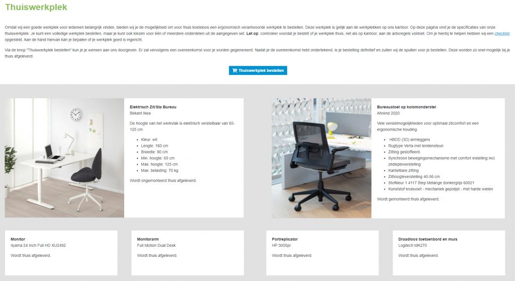 InSite-pagina thuiswerkplek bestellen